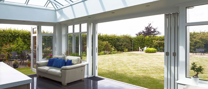 Modern garden room with bi fold doors