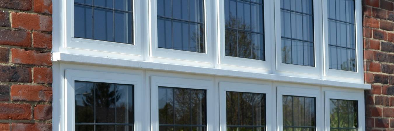 Image of aluminium double glazing windows fitted to a house in Sutton